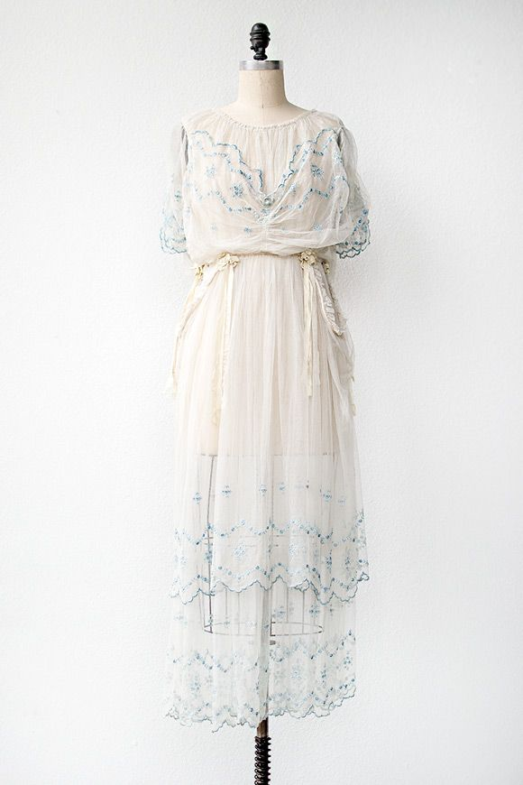 antique 1910s wedding dress with ribbons   Ribboned Dreams Wedding Dress