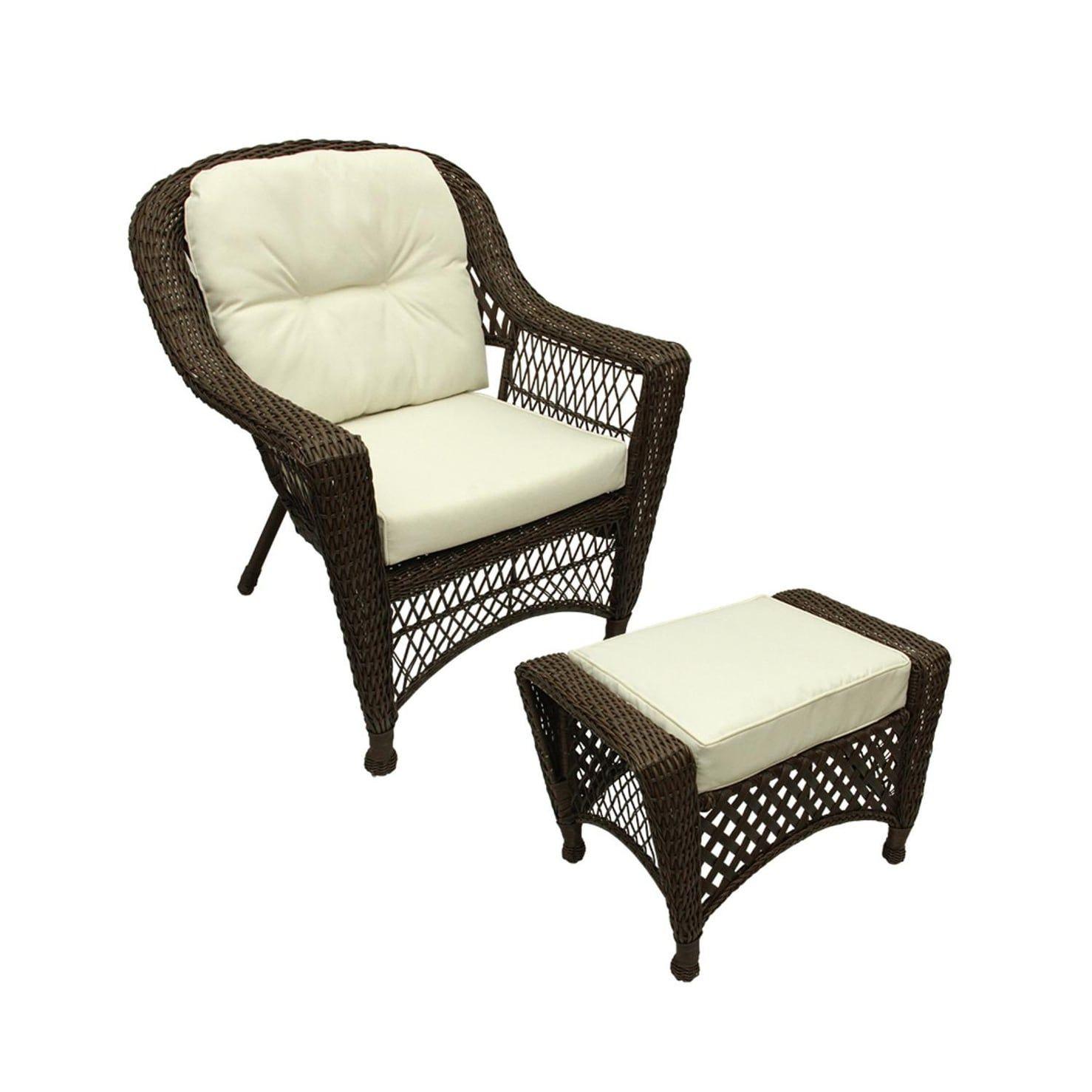 2 Pc Somerset Dark Brown Resin Wicker Patio Chair & Ottoman