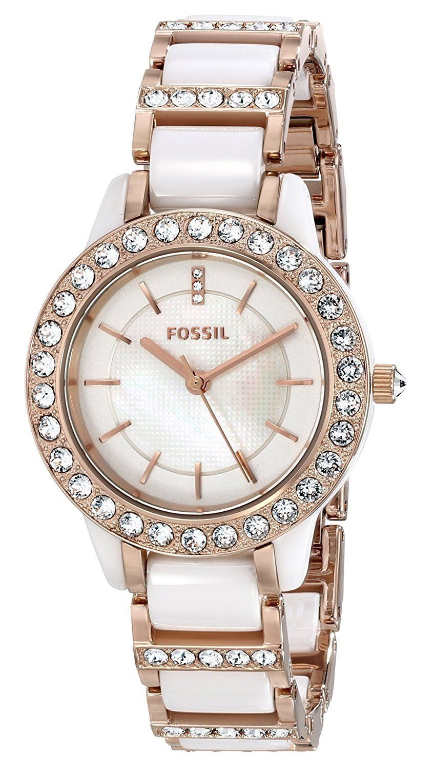 0552fe8c2ea9 Fossil Women s CE1041 Jesse White Ceramic Rose Gold Tone Watch ...