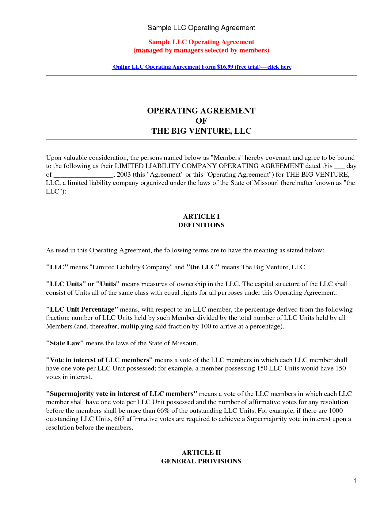 Free sample llc operating agreement by kennwood llc for Free llc operating agreement