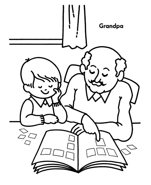 grandfather teach me to read coloring pages color