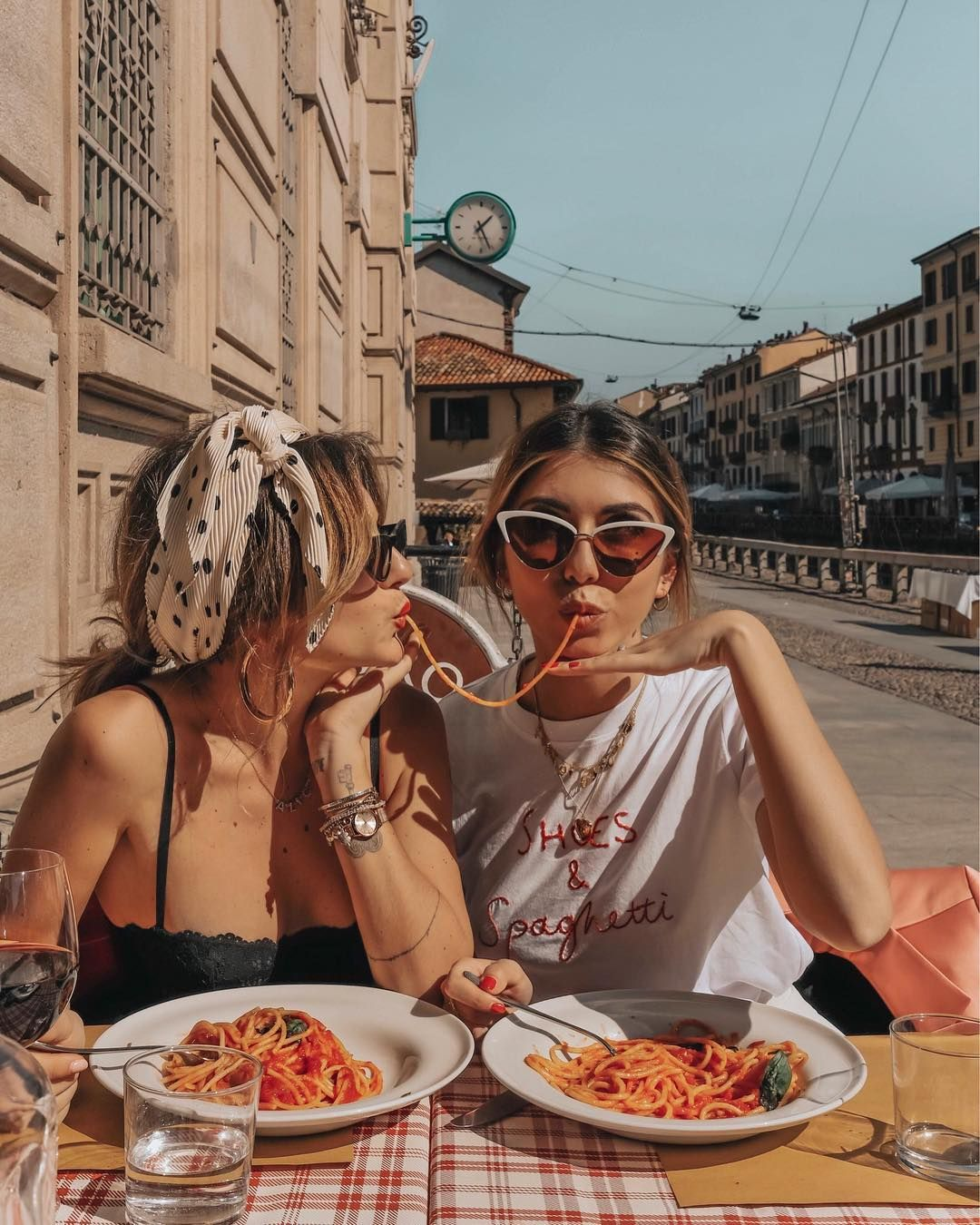 """Photo of Alice's Instagram profile post: """"Italian Vibes ?? Spaghetti are always a good Idea, better if shared with a friend ❤️ @aliceperrella"""""""