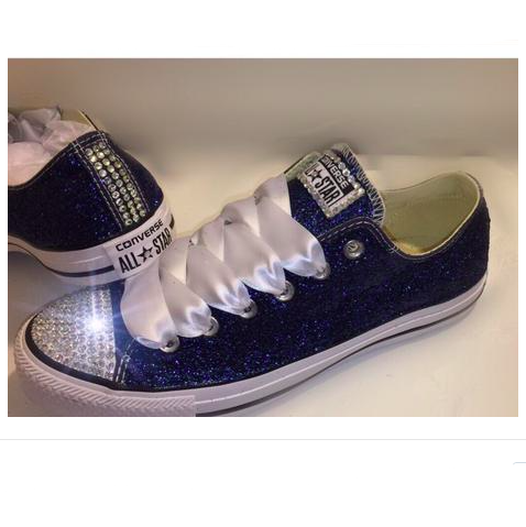 Women's Sparkly Navy Blue Glitter Crystals Converse All
