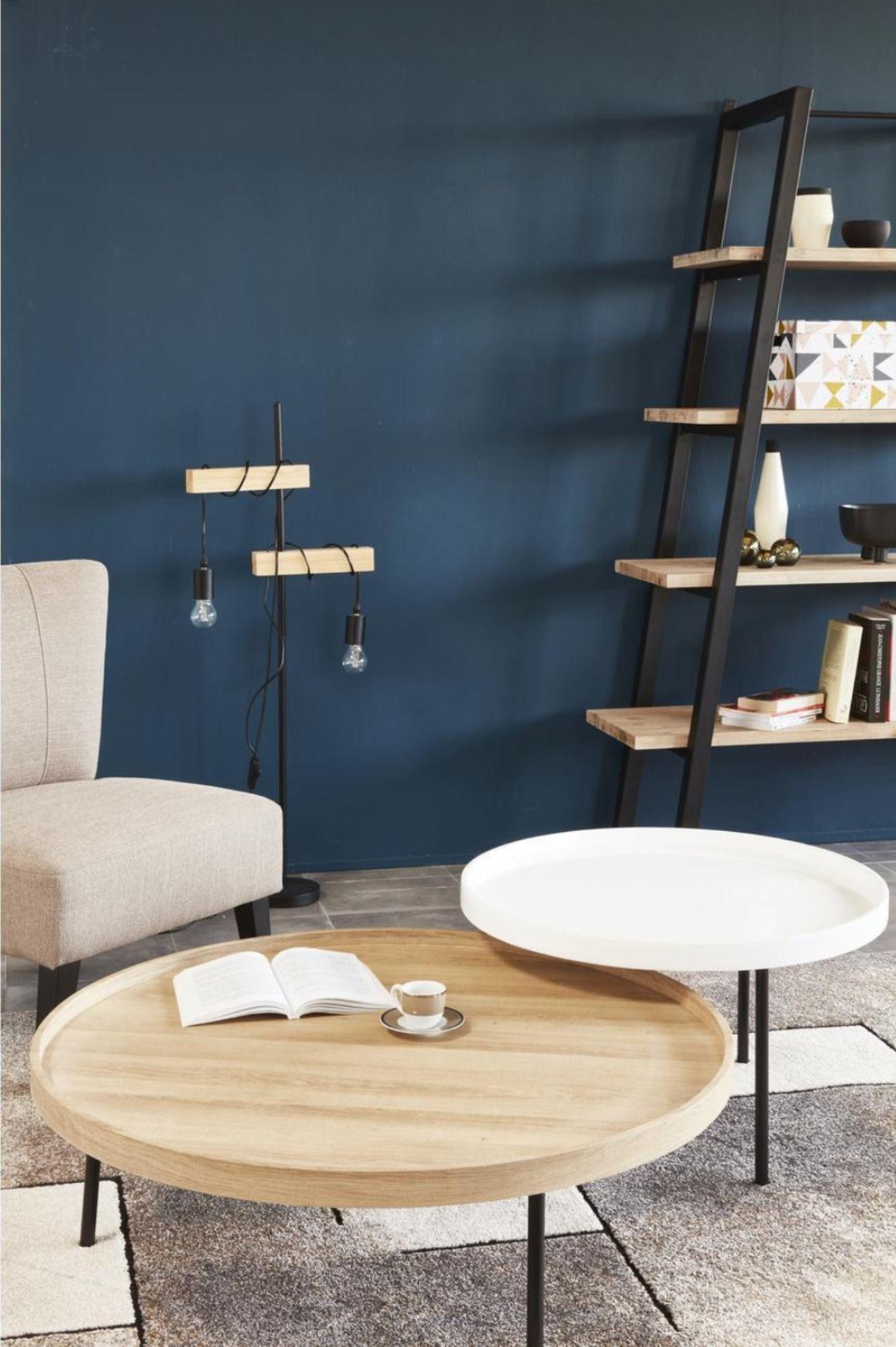 Table Aveiro Bois Beige Et Blanc Bobochic En 2020 Table Basse Deco Mur Salon Table Basse Salon