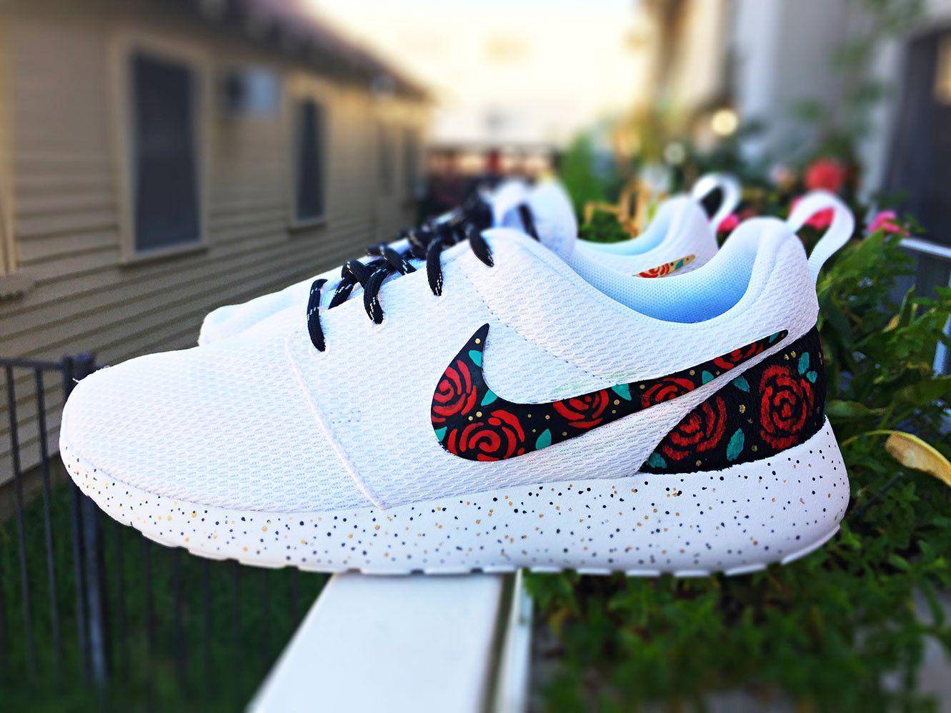 sports shoes 2bde3 95e08 Custom Nike Roshe Run Rose design, floral custom roshe, Rose Gold design,  Red…