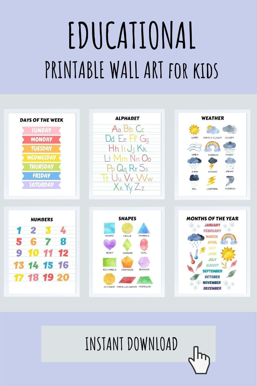 Set of 3 educational wall art poster prints for boys learn shapes counting abc preschool kindergarten kids homeschool decor ideas Montessori