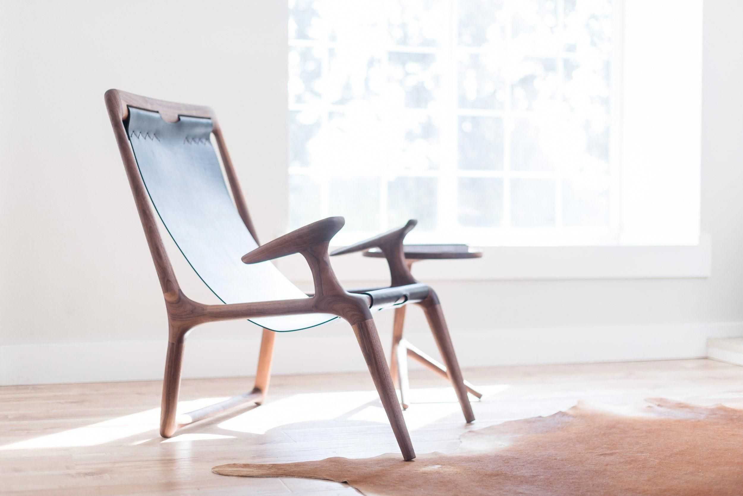 The sling chair walnut u black leather chairsforrentnearme