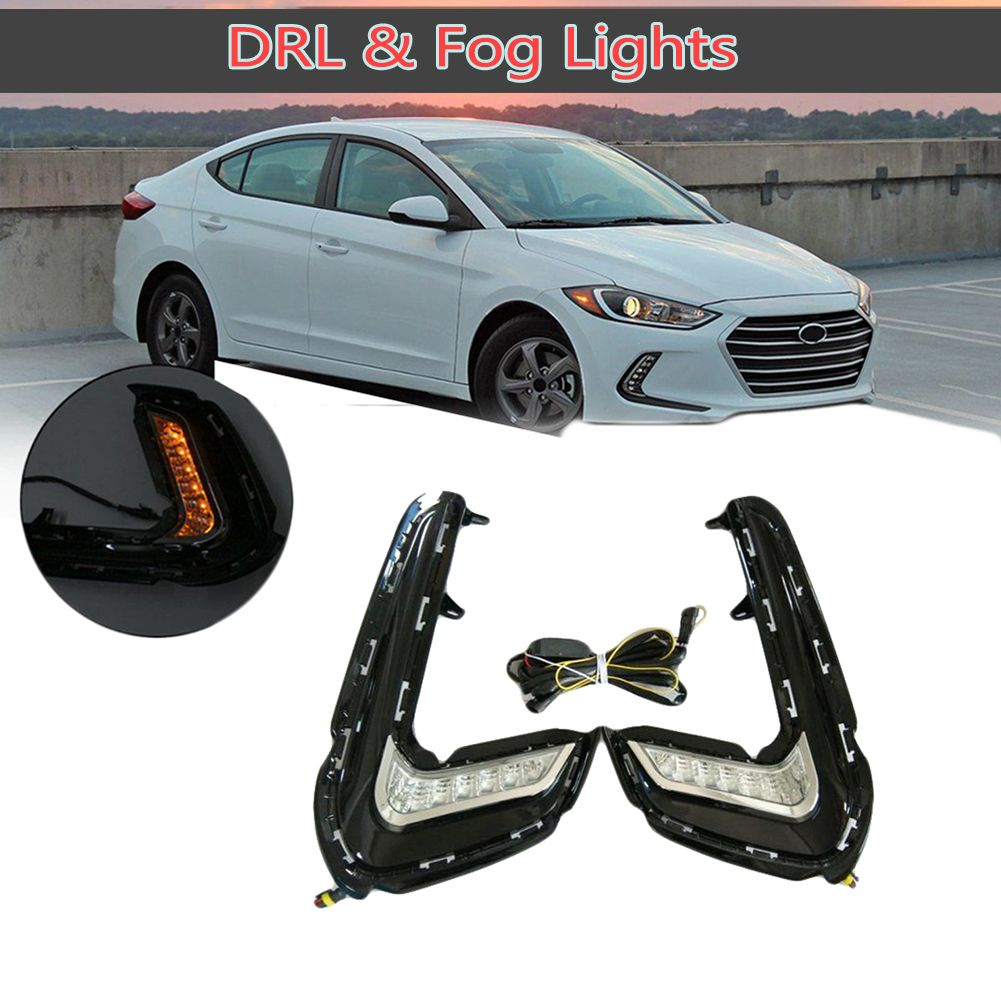 2X 12-LED Daytime Running DRL Light with Turn Signal Compatible with Hyundai Elantra 16-18
