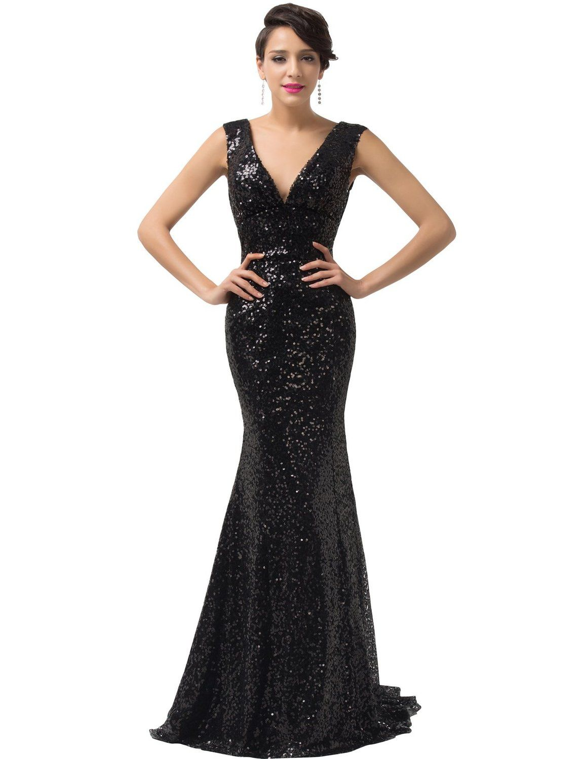 Grace karin sequined sparkle evening prom dress full length cl