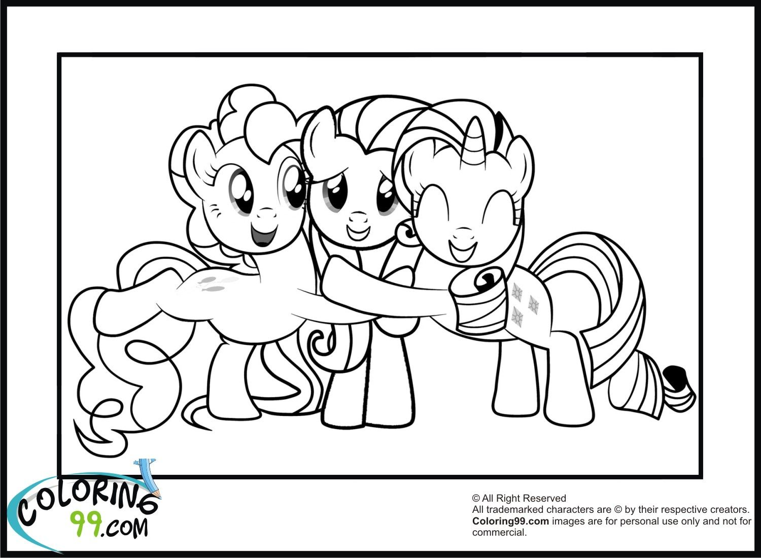 My little pony coloring pages rarity - Pinkie And Rarity Hugging Fluttershy See More Pinkie Pie Pony Smiling Big Coloring Page My Little