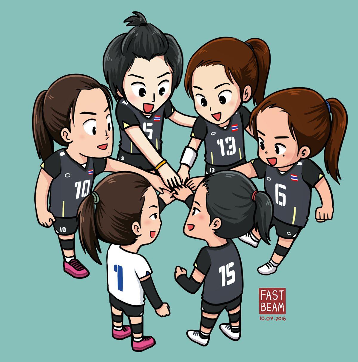 Fanart Thailand Women S National Volleyball Team On Behance Volleyball Team Volleyball Thailand