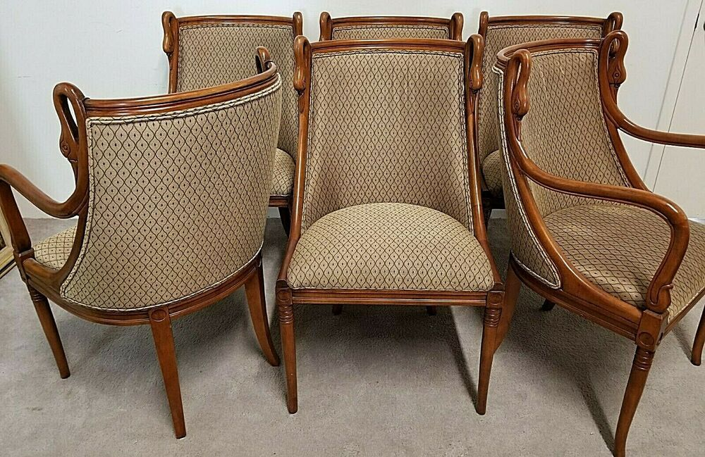 Find Many Great New Used Options And Get The Best Deals For Set Of 6 Harris Marcus French Empire Hand Carved Swans Barrel Dining Chairs Chair Furniture