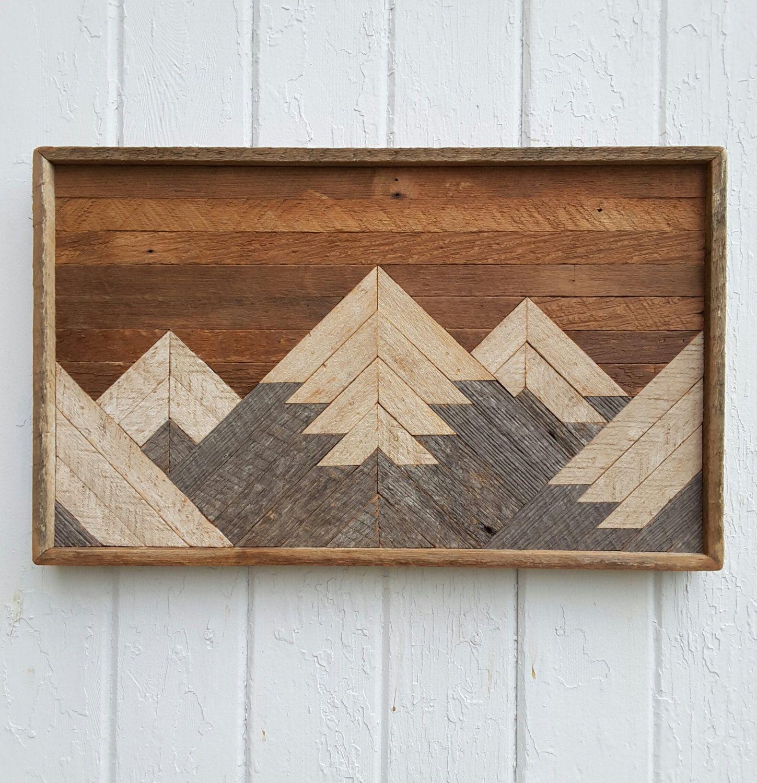 Reclaimed Home Decor: Past Reclaimed Wood Wall Art, Small Mountain Range, Lath