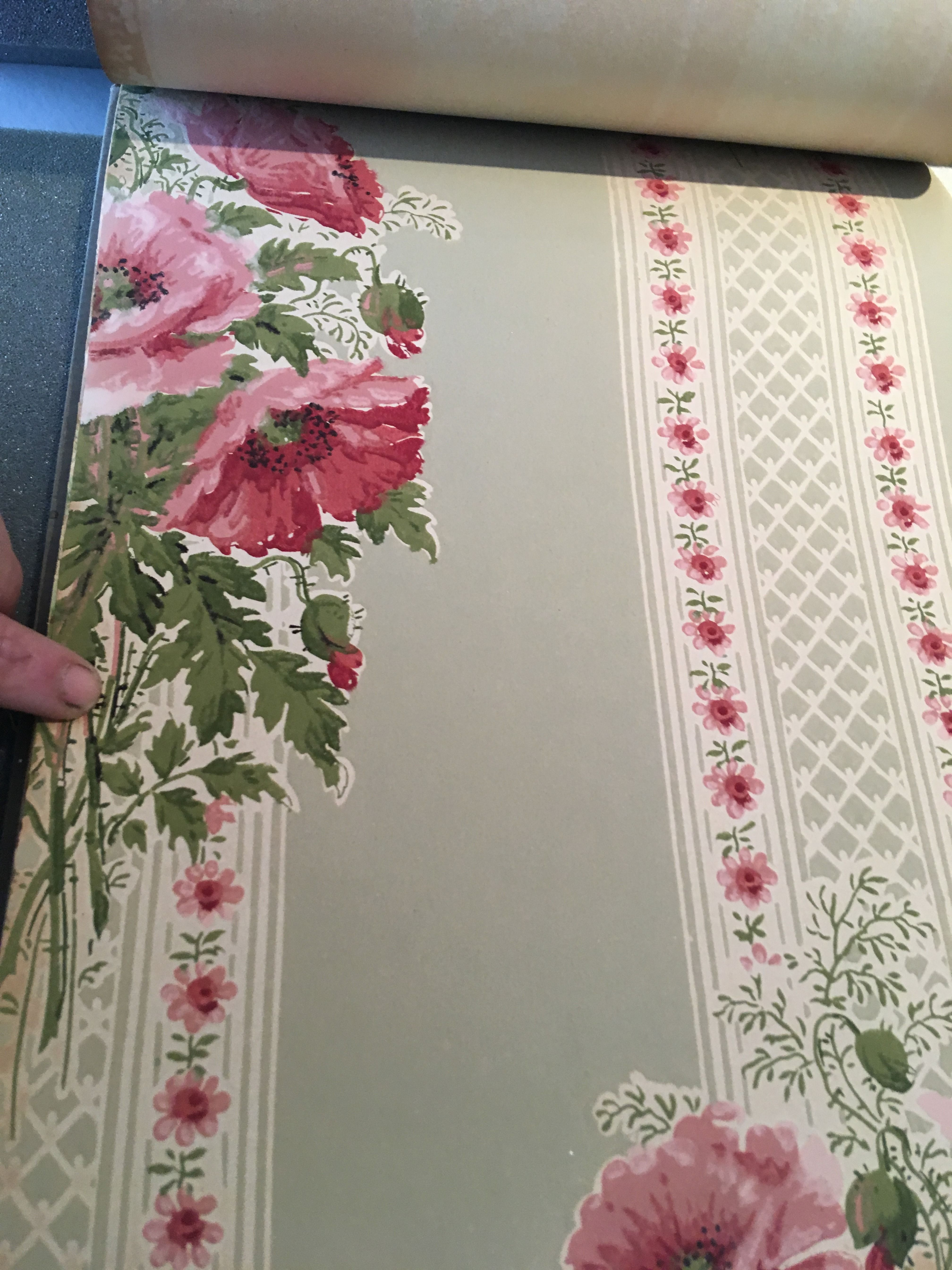 1914 antique Edwardian wallpaper with poppy floral design