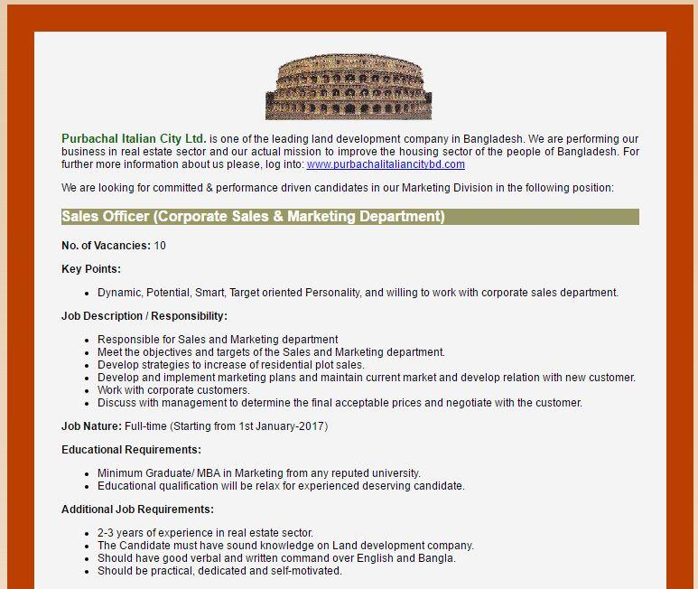 Purbachal Italian City Ltd Sales Officer (Corporate Sales - sales and marketing job description