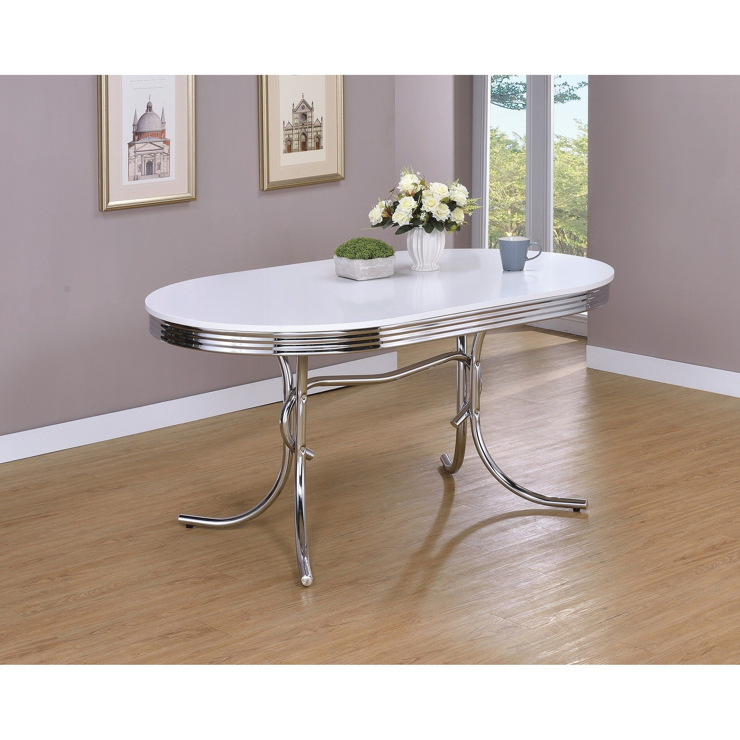 Parlisse White And Chrome Oval Dining Table Grey Dining Table