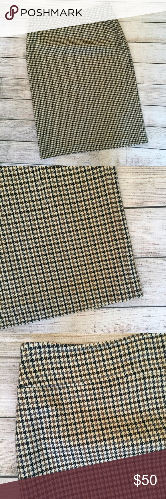 """Brooks Brothers Wool Houndstooth Pencil Skirt Wool blend. Houndstooth design throughout. Fully lined. Hidden side zipper closure. Waist 15"""" across. Length 25"""". Excellent condition 🚫NO TRADES/NO MODELING🚫✅BUNDLE TO SAVE ✅ Brooks Brothers Skirts Pencil"""
