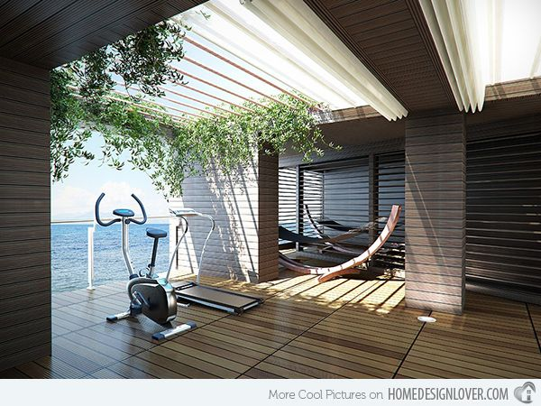 15 Cool Home Gym Ideas Gym Wooden walls and Decking