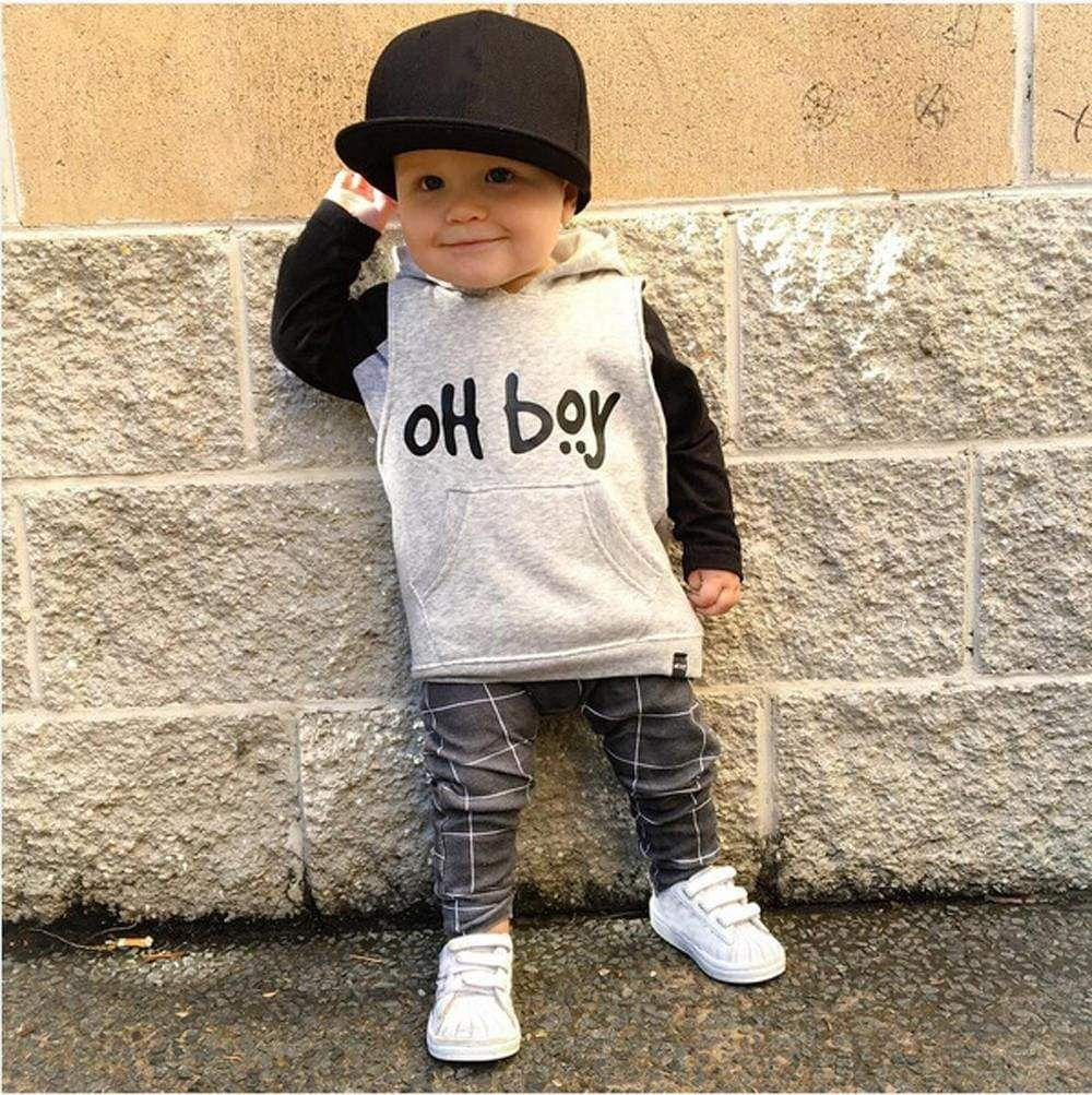 e24bcc0df Toddler Infant Baby Boy Clothes Set Fashion Hooded Tops+Pants ...