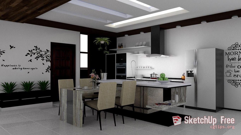 1223 Kitchen Sketchup Model Free Download Kitchen Interior Design Modern Kitchen Interior Kitchen Design