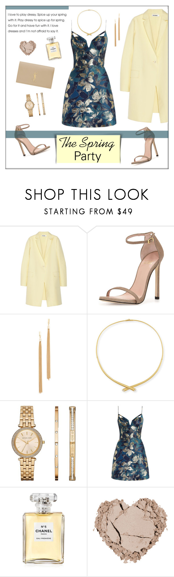 """Ready for Spring Parties"" by ms-mandarinka ❤ liked on Polyvore featuring Jil Sander, Stuart Weitzman, Jules Smith, Carelle, Michael Kors, Zimmermann, Chanel and Yves Saint Laurent"