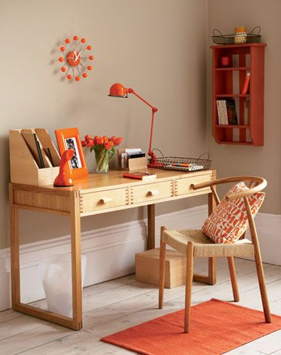 Simple Home Office With Orange Accents