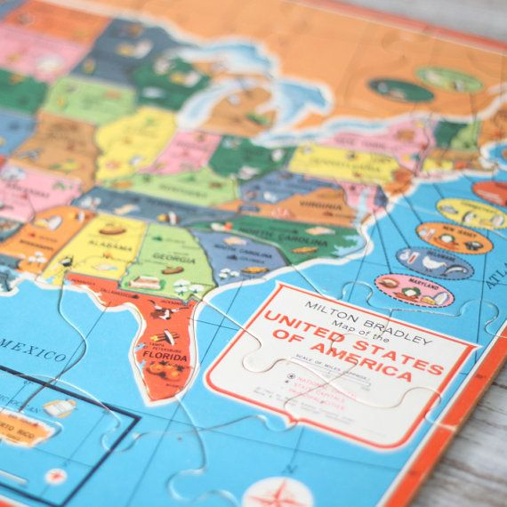 Vintage 1961 usa world map puzzle | a few of my favorite ...
