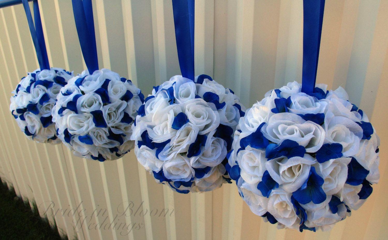 Wedding flower balls royal blue white by
