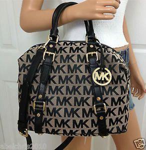 7a82b699c18be2 Michael Kors Khaki Black Signature Medium MK Bedford Leather Satchel  Bowling Bag #Handbagsmichaelkors