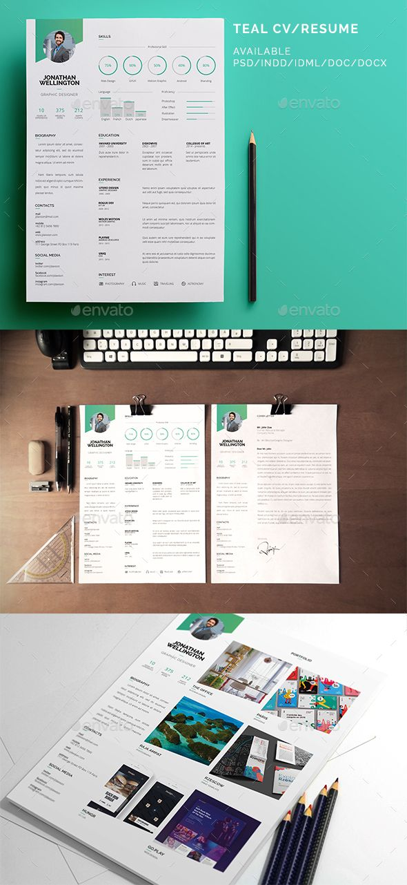 Teal CV / Resume Cv resume template, Resume template download and Teal