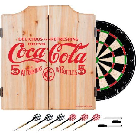 Coca Cola Dart Cabinet Set with Darts and Board, 5 Cents Red, Multicolor