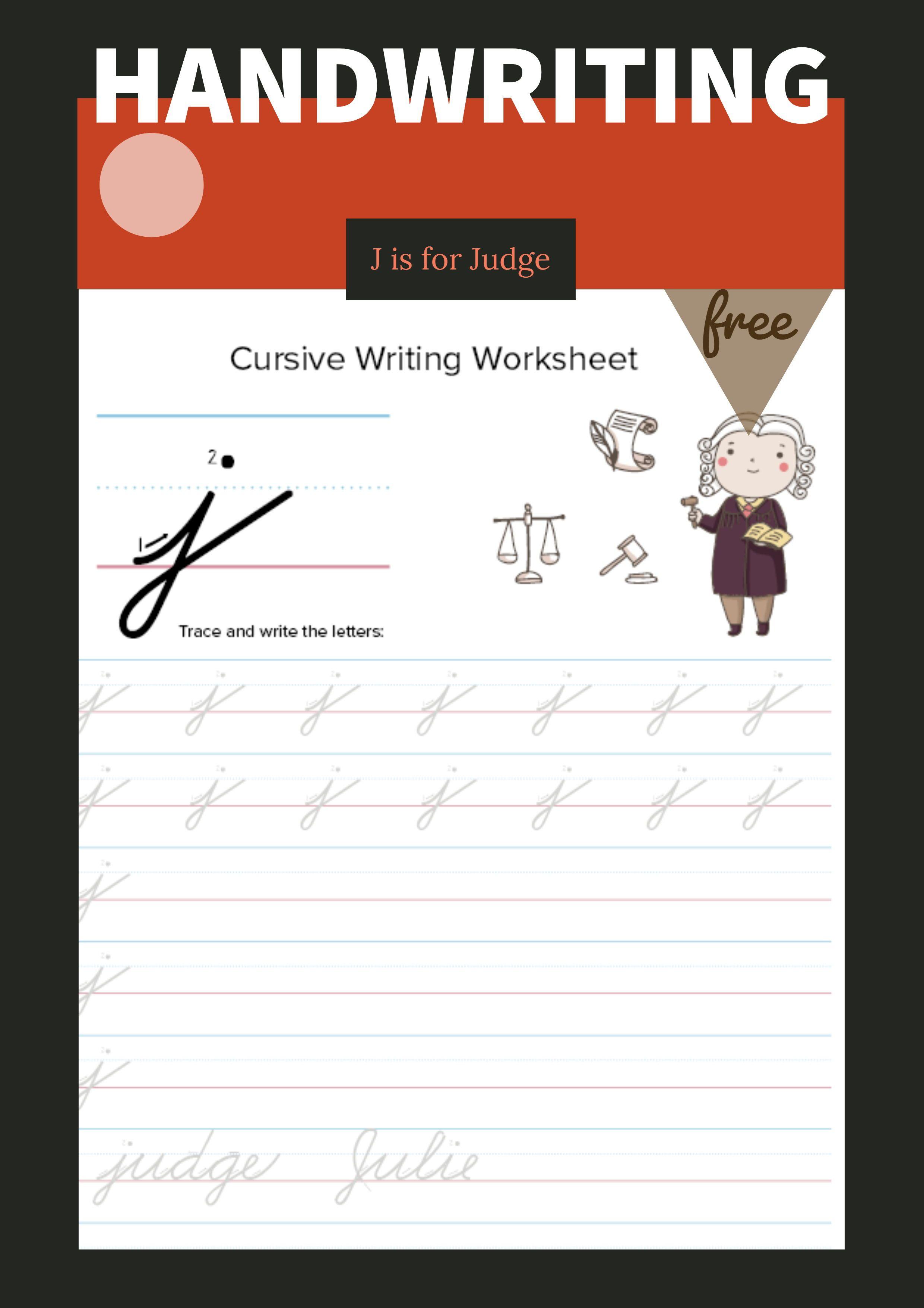 Lowercase Cursive J Worksheet