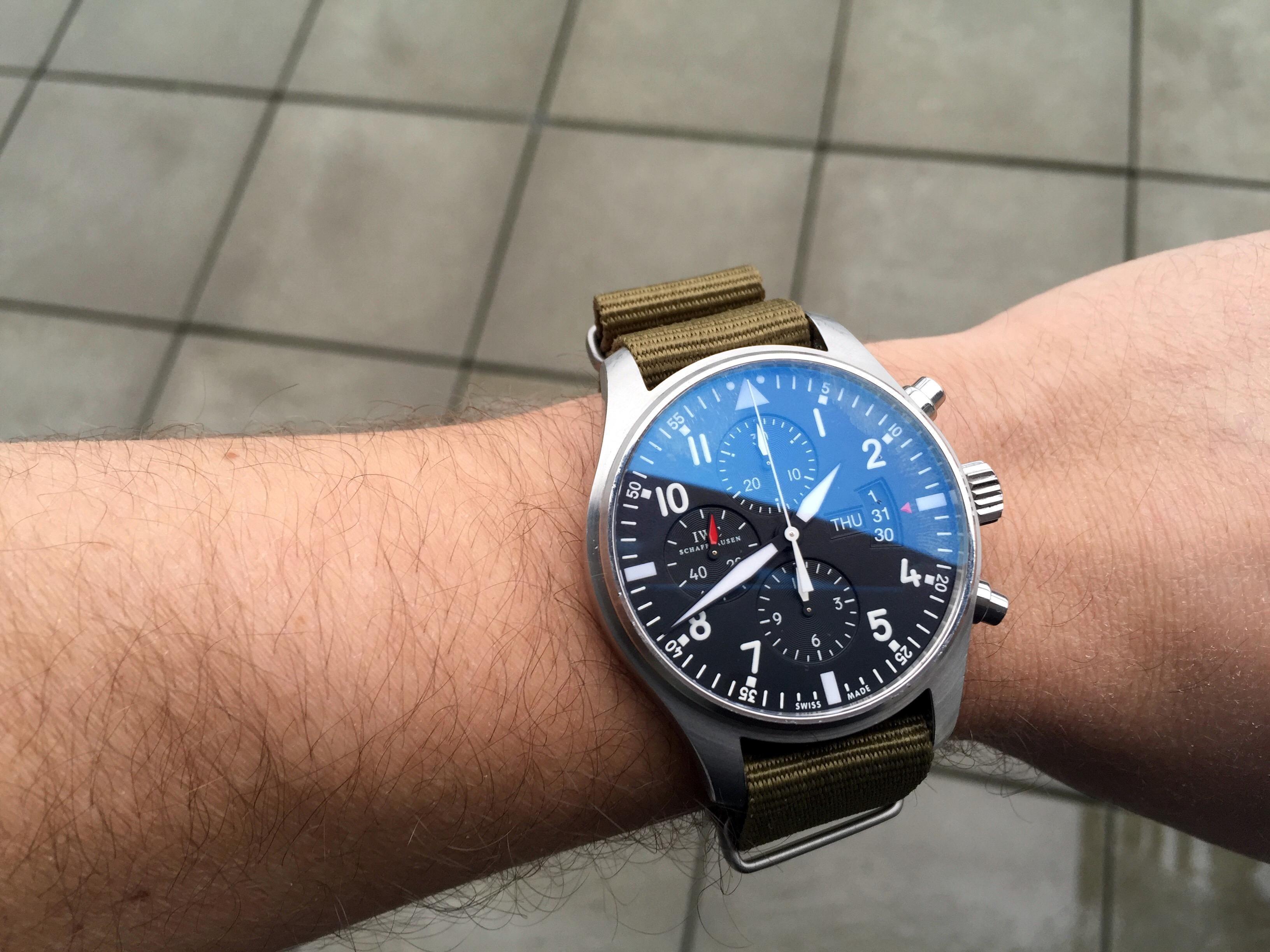 IWC 3777 Pilot Chronograph & green NATO Iwc watches