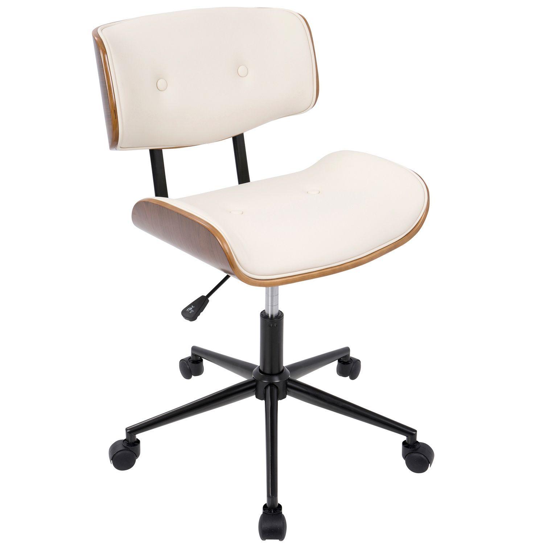Lombardi Walnut Cream Faux Leather Office Chair Adjustable