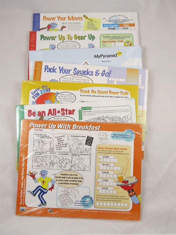 Power Panther Food Nutrition Eat Smart Play Hard Fun Activity Workbook Booklets