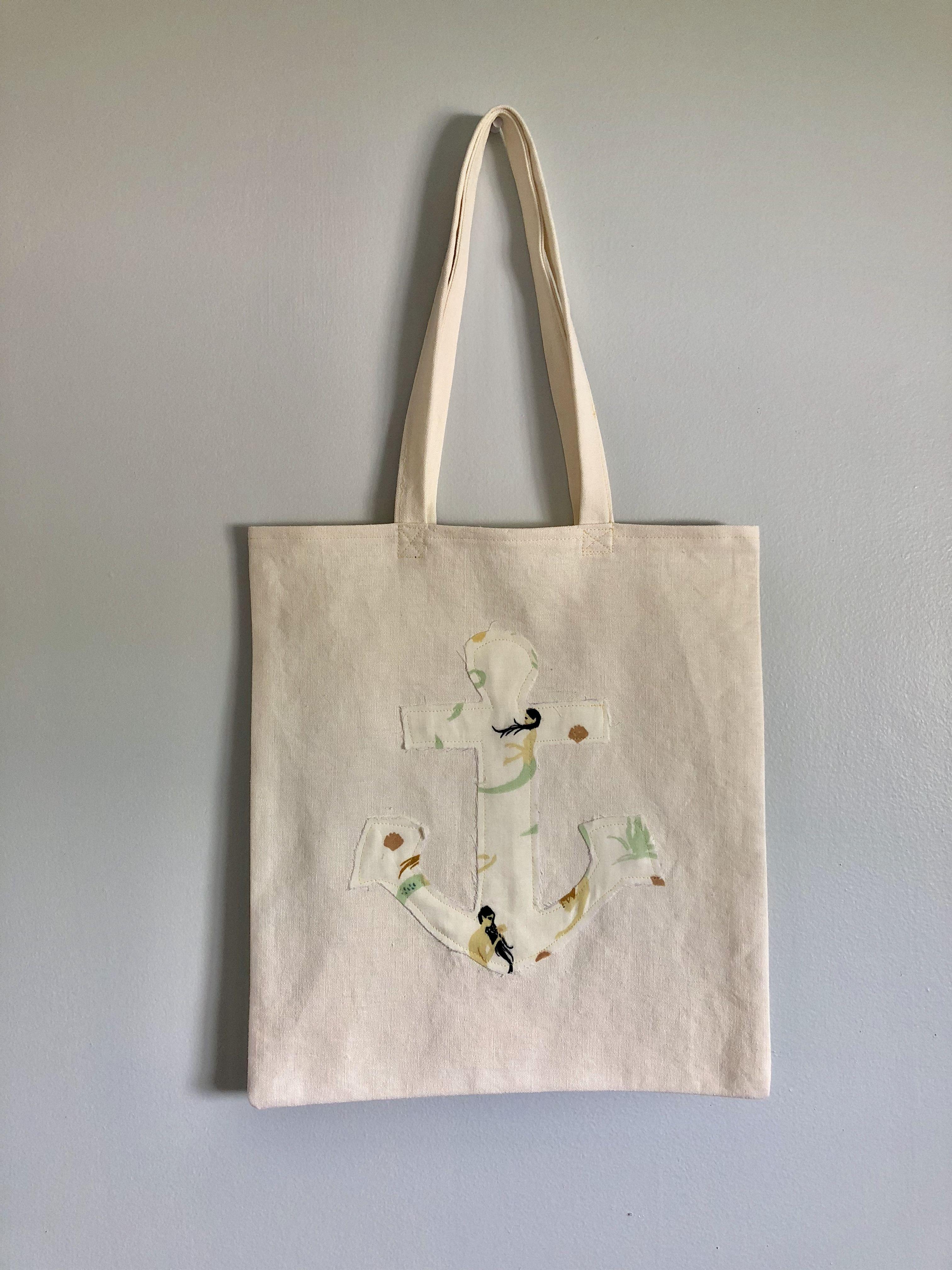 4dd6609f3 Mermaid Anchor canvas tote bag | Surf Chic Designs Original Work in ...