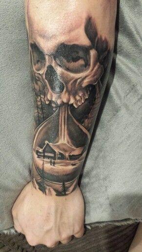Forearm skull hourglass tattoo … | tattoos | Hourglass tattoo ...