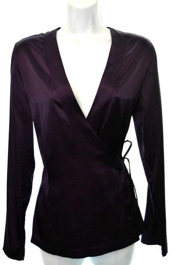 72079b2b7c03 $19.97 CHICO'S 0 Womens 4 Dark Purple Stretch Satin Long Sleeve Wrap Blouse  Shirt #Chicos #Wrap #Casual