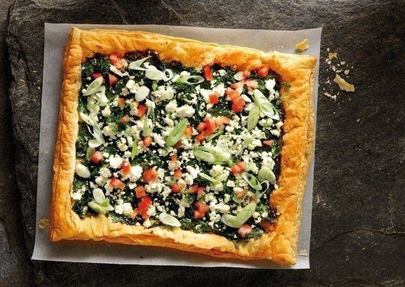 Quick and Easy Spinach Pie. Defrost the spinach. When it is at room temperature, squeeze it until all the liquid has drained completely. 	Spread the puff pastry on to a baking sheet. Prick with a fork ...