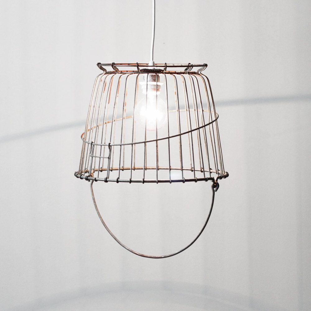 vintage wire basket swag lamp industrial ceiling light vintage rh pinterest com Swag Lamps with Chain and Plugs in Outlet Swag Lamps Home Depot