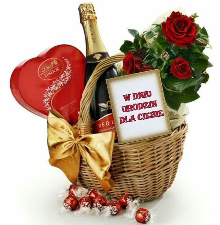 Marzenie W Dniu Urodzin Picnic Basket Decorative Wicker Basket Happy Birthday