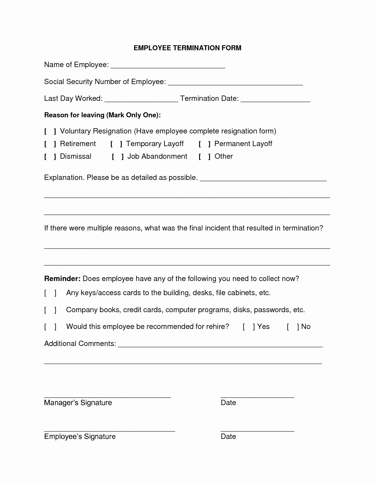 Employee Termination form Template Best Of 9 Best Of