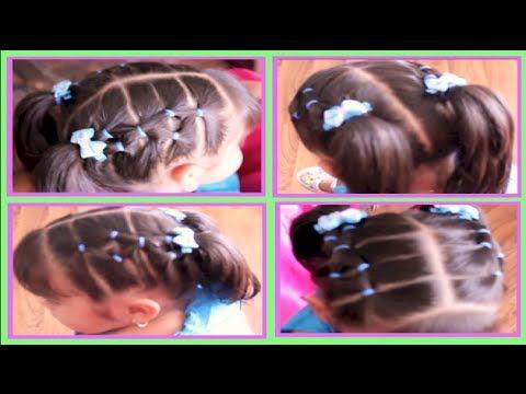 Peinado Con Ligas En Forma De Rombo Facil Y Diferente Para Niña - peinados de nia faciles de hacer