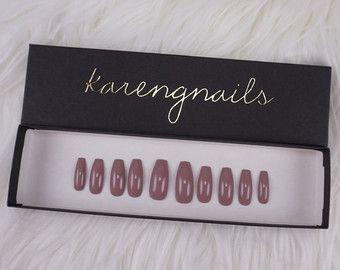 Mauve   Press On Nails   Glue On Nails   False Nails   Any Shape   Handpainted