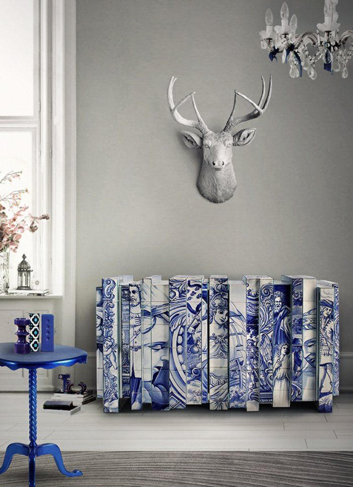 Heizkrperverkleidung Wohnzimmer Deko Antike Motive Blau Weiss Hirsch Geweih Wanddeko