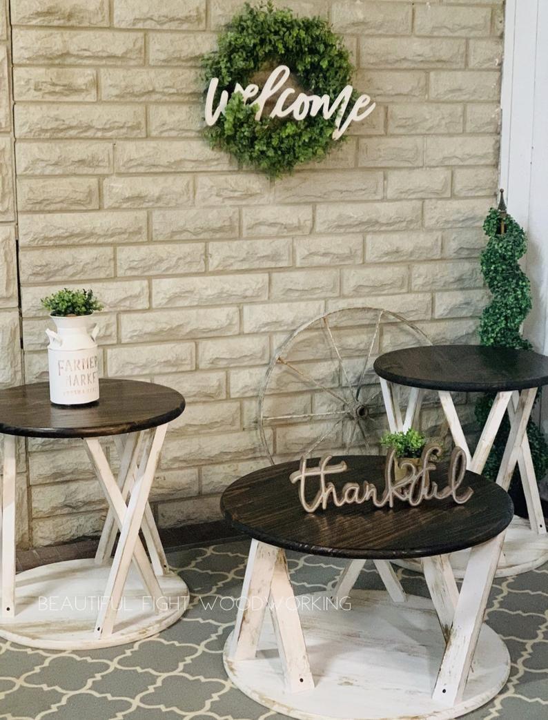 Farmhouse Round End Tables Etsy Living Decor Farmhouse Style Furniture Living Room Decor [ 1043 x 794 Pixel ]