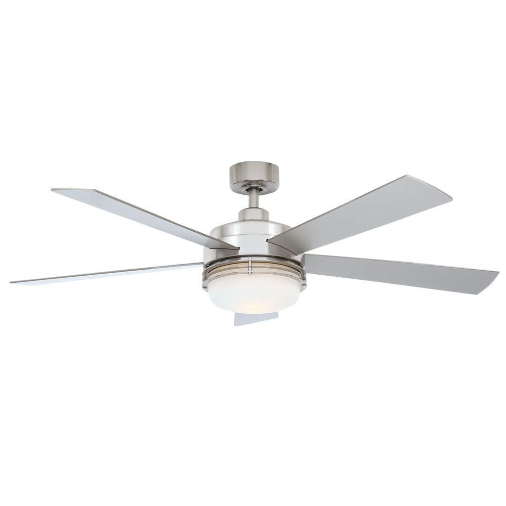 Hampton Bay Sussex Ii 52 In Indoor Brushed Nickel Ceiling Fan With Light Kit And Remote Control Al694 Bn The Home Depot Ceiling Fan Ceiling Fan With Light Brushed Nickel Ceiling Fan