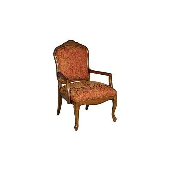 Francine Red And Gold Paisley Arm Chair | LampsPlus.com | $200 | Found On