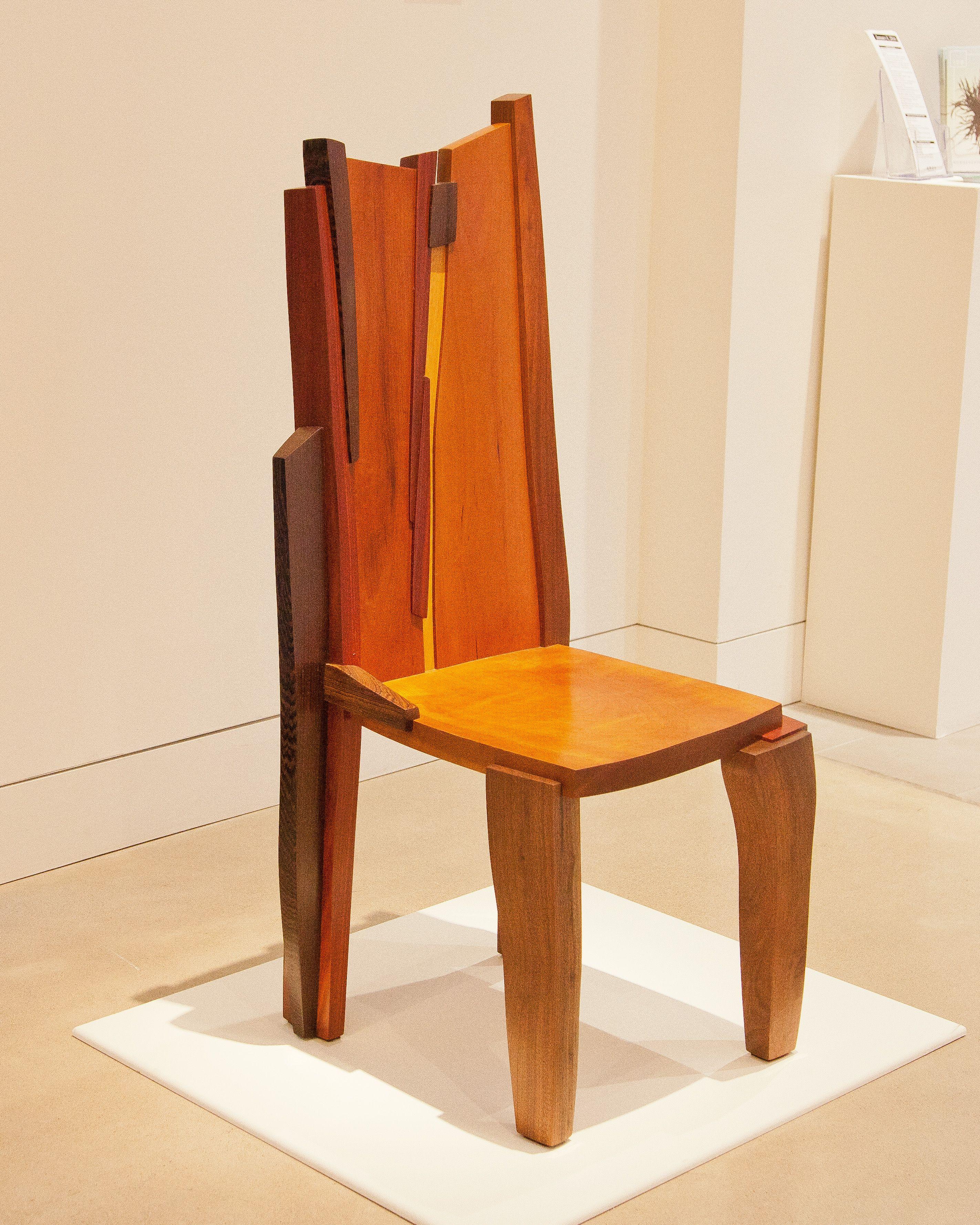 "Don Narcomey Bloodlines Chair, 2016 Walnut, cherry, wenge, bloodwood, bocote, goia bao 46"" x 18"" x 20"" $8,500"