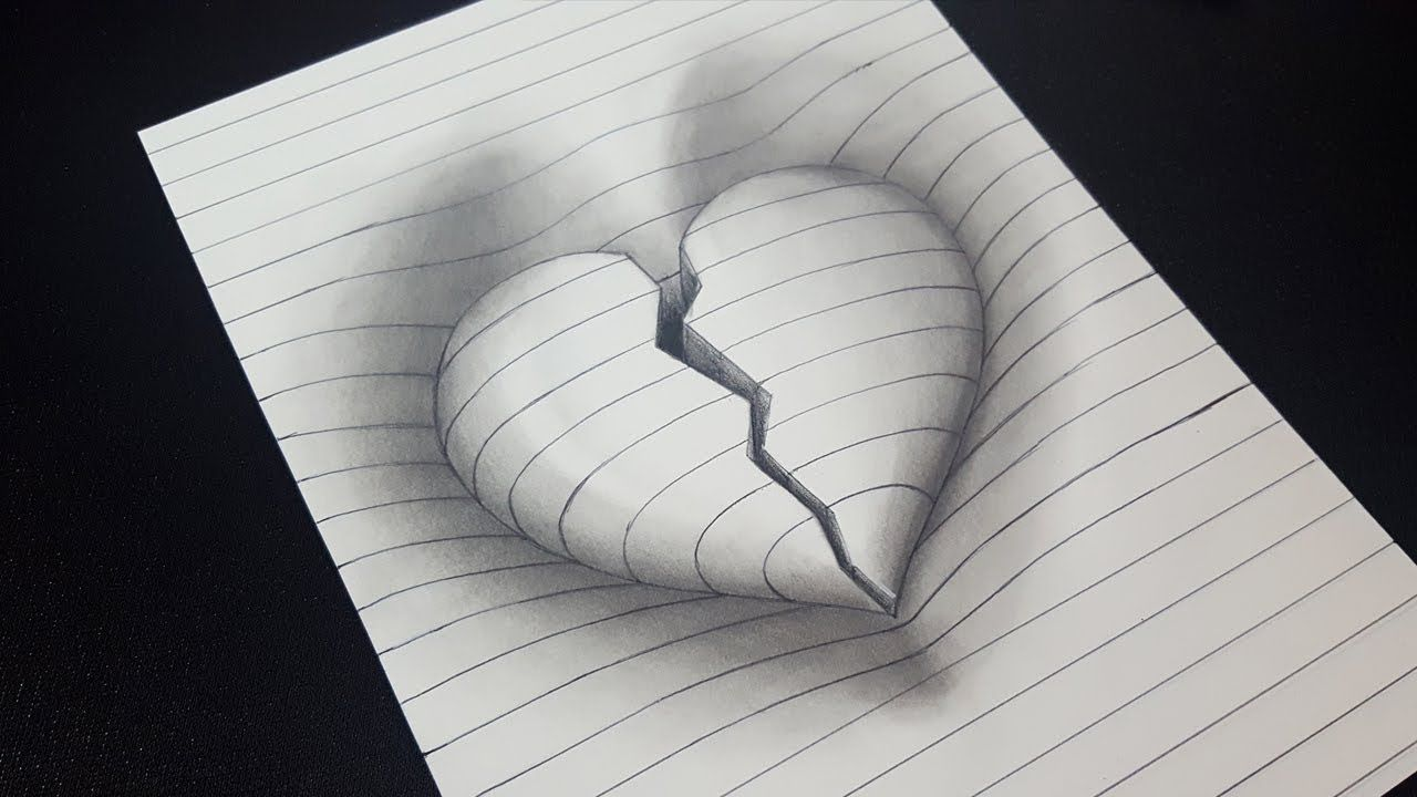 Amazing How To Draw 3d Broken Heart In Line Paper 3d Trick Art Heart Drawing Broken Heart Drawings Broken Drawings